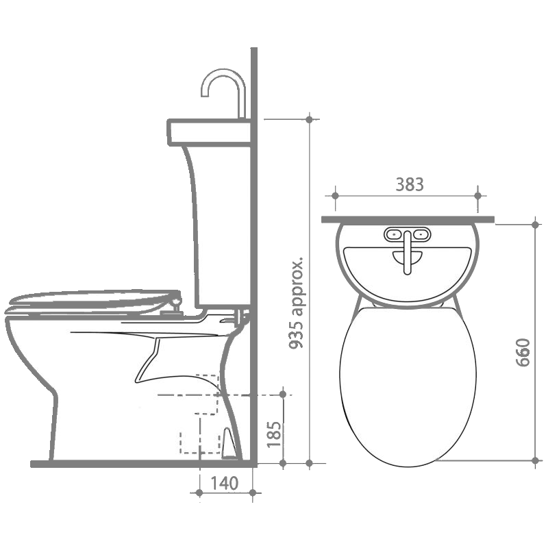 All In One Toilet Hand Basin Measurements