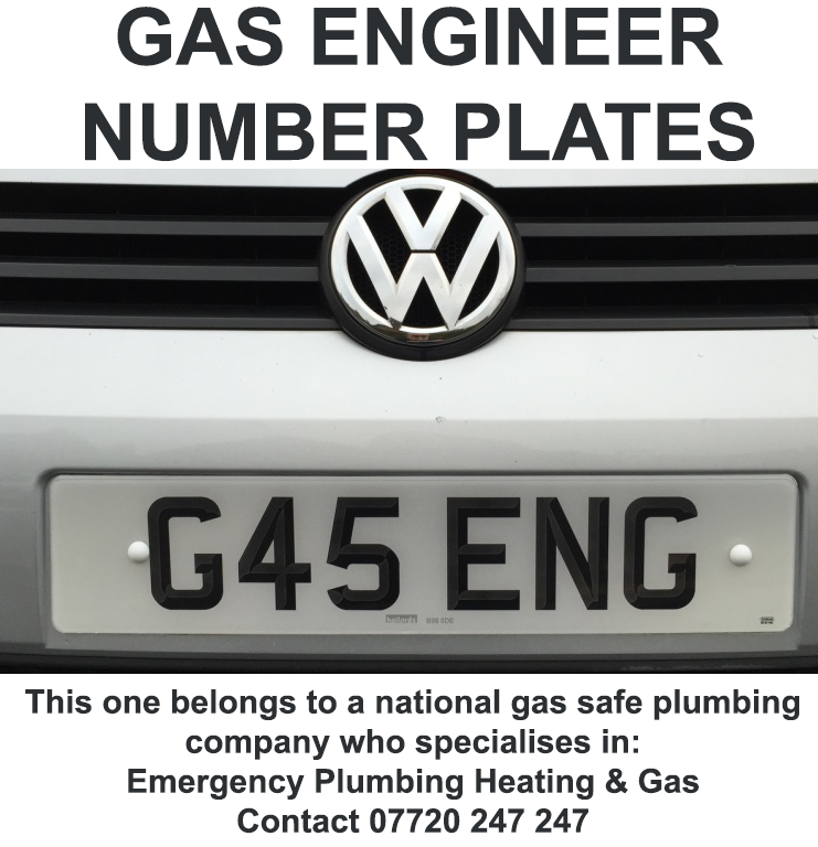 Gas Engineer Vehicle Registration Number Plates G45 ENG