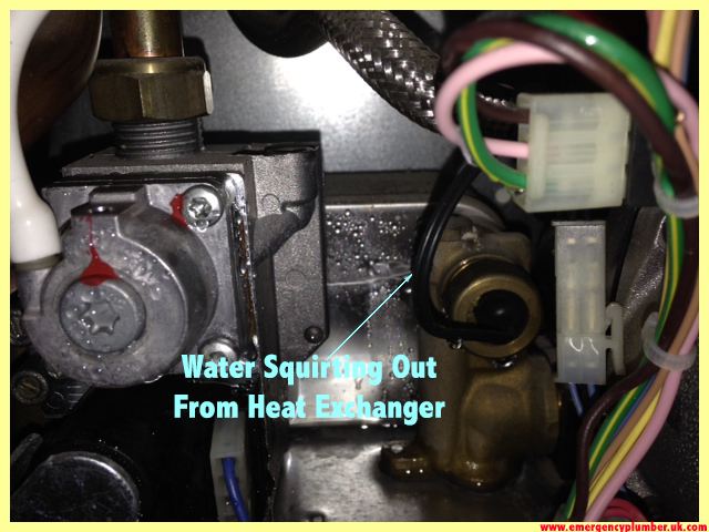Water Squirting Out From Heating Exchanger